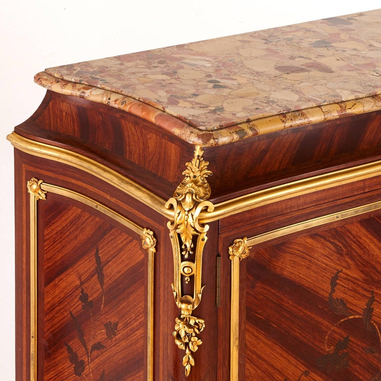 Pair of Gilt Bronze-Mounted Marquetry Cabinets by Durand For Sale 1