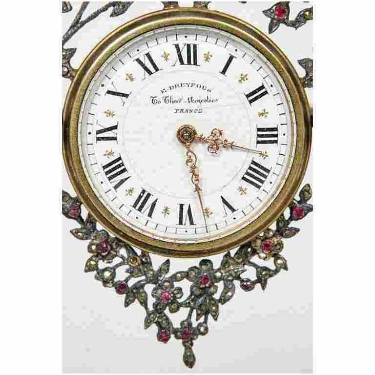 French Early 20th Century Silver and Precious Stone Table Clock For Sale