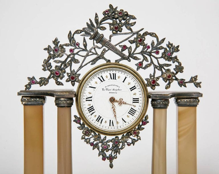 Early 20th Century Silver and Precious Stone Table Clock In Good Condition For Sale In London, GB