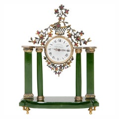 19th Century Table Clock with Silver, Nephrite and Precious Stones
