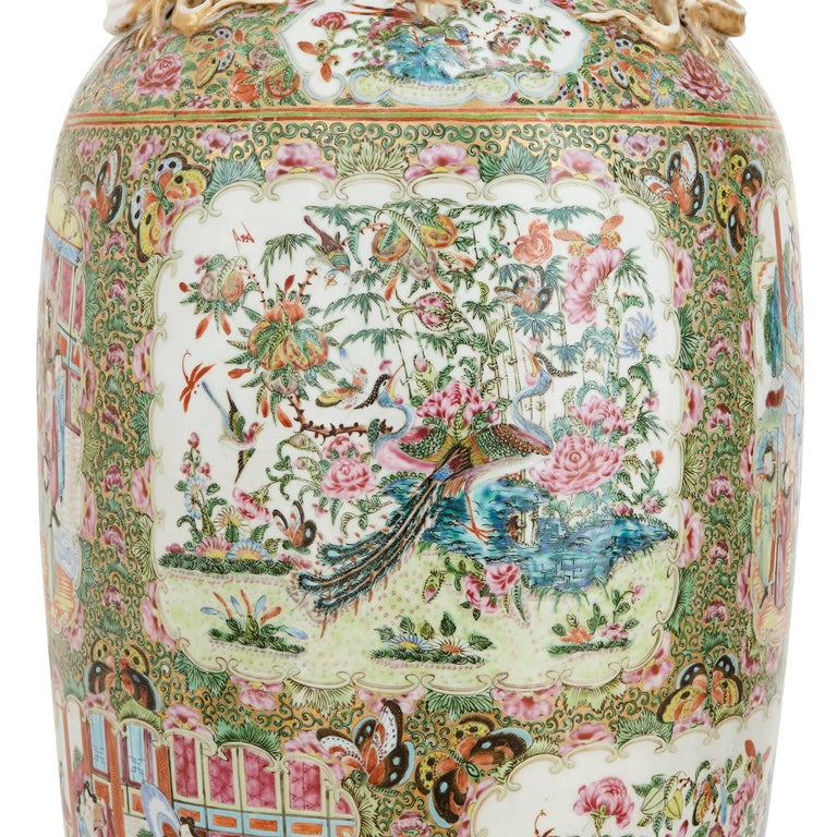 Chinese Export Large Pair of Chinese Qing Dynasty Porcelain Vases For Sale
