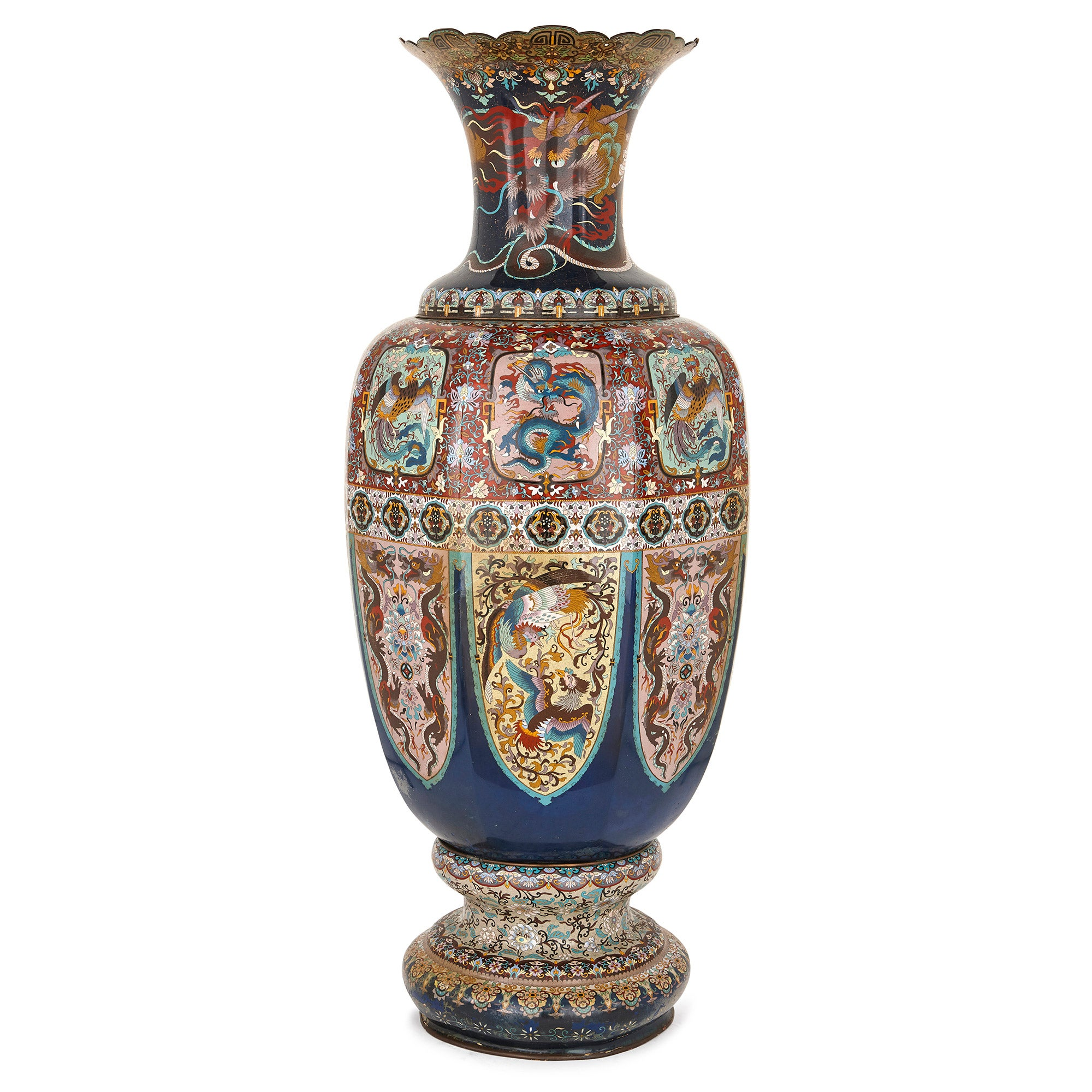 Late 19th Century Japanese Cloisonne Enamel 'Dragon' Vase