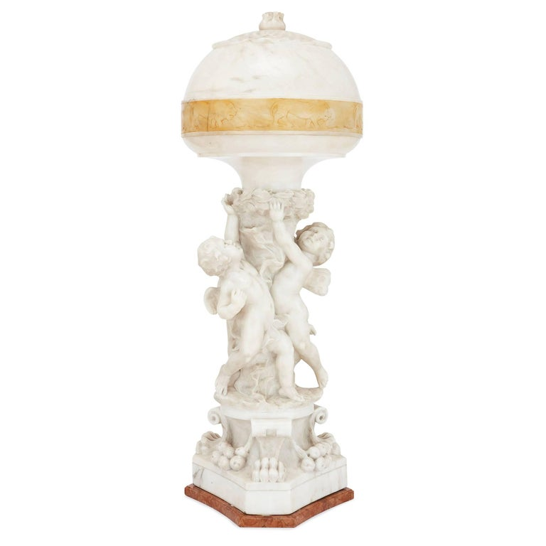 Italian Neoclassical Style Alabaster and Marble Lamp