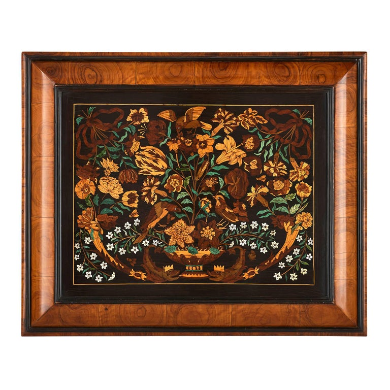 19th Century French Wooden Marquetry Panel of Flowers