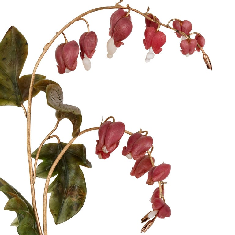 Russian Faberge Style Model of Bleeding Heart Flowers, Retailed by Tiffany For Sale