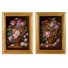 Two Antique Painted Porcelain Plaques of Flowers