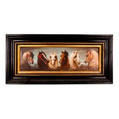 Antique Painted Ceramic Equestrian Plaque