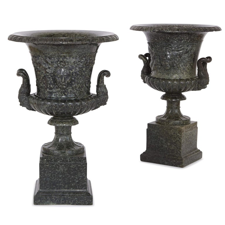 Pair Of Antique Italian Serpentine Marble Vases For Sale At 1stdibs