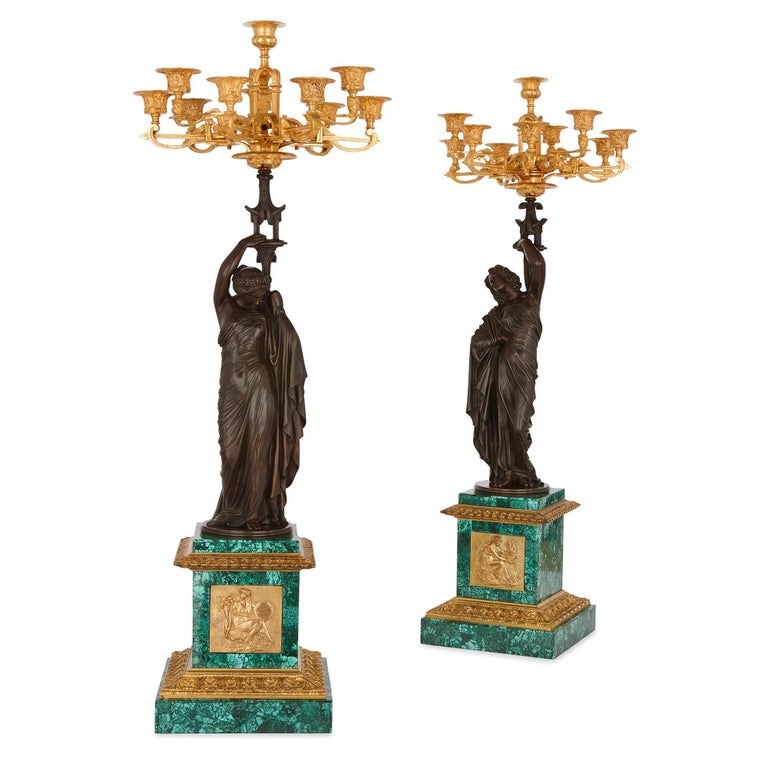 French Neoclassical Style Patinated Bronze, Ormolu and Malachite Clock Set For Sale