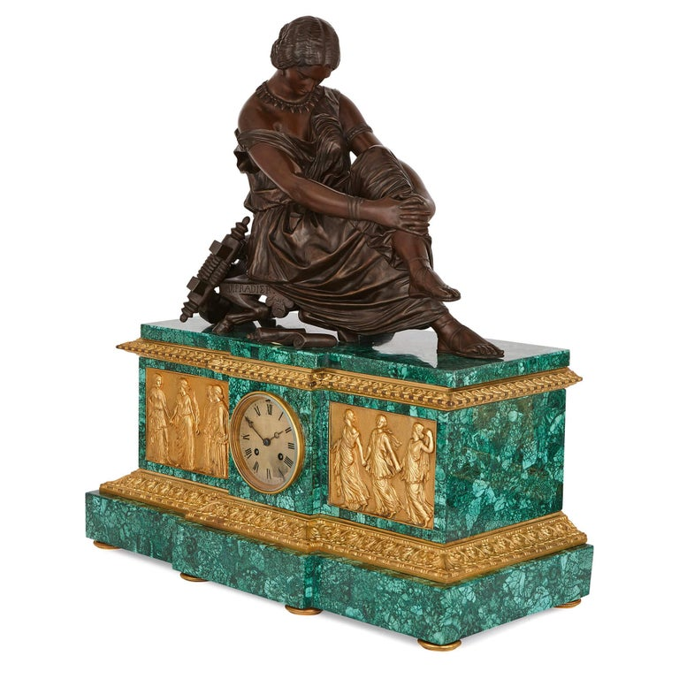 This spectacular clock set is based on the works of the esteemed Neoclassical artist James Pradier (French, 1790-1852), whose sculptures can be found in nearly all of Paris's major landmarks and museums. Pradier modelled all the bronze figures and