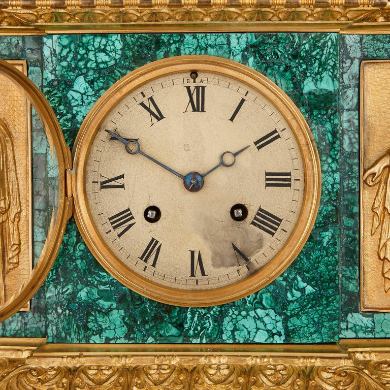 Gilt Neoclassical Style Patinated Bronze, Ormolu and Malachite Clock Set For Sale