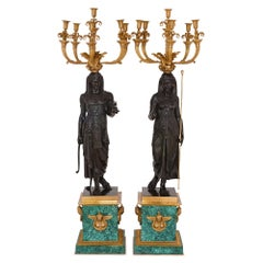 Pair of Empire Style Gilt, Patinated Bronze and Malachite Candelabra