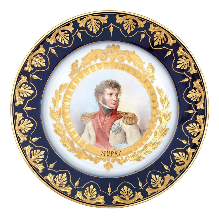 Gilt Napoleonic Sevres Style Porcelain Dessert Service For Sale