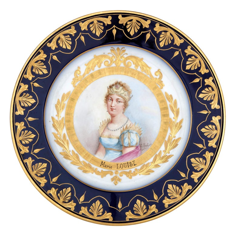French Napoleonic Sevres Style Porcelain Dessert Service For Sale