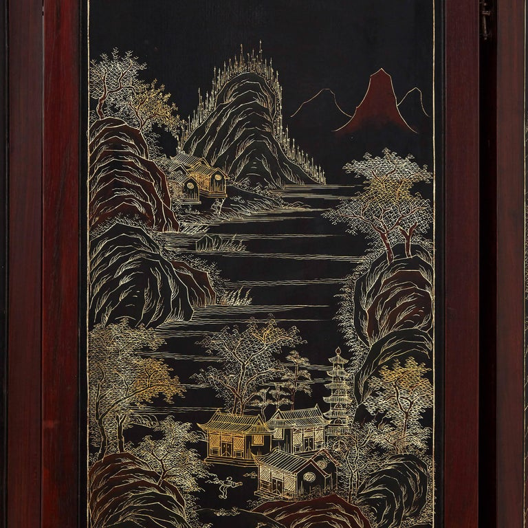 Chinese Hardstone, Cloisonne Enamel and Lacquer Screen For Sale 1