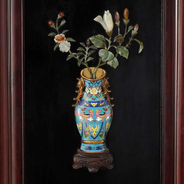 Stone Chinese Hardstone, Cloisonne Enamel and Lacquer Screen For Sale