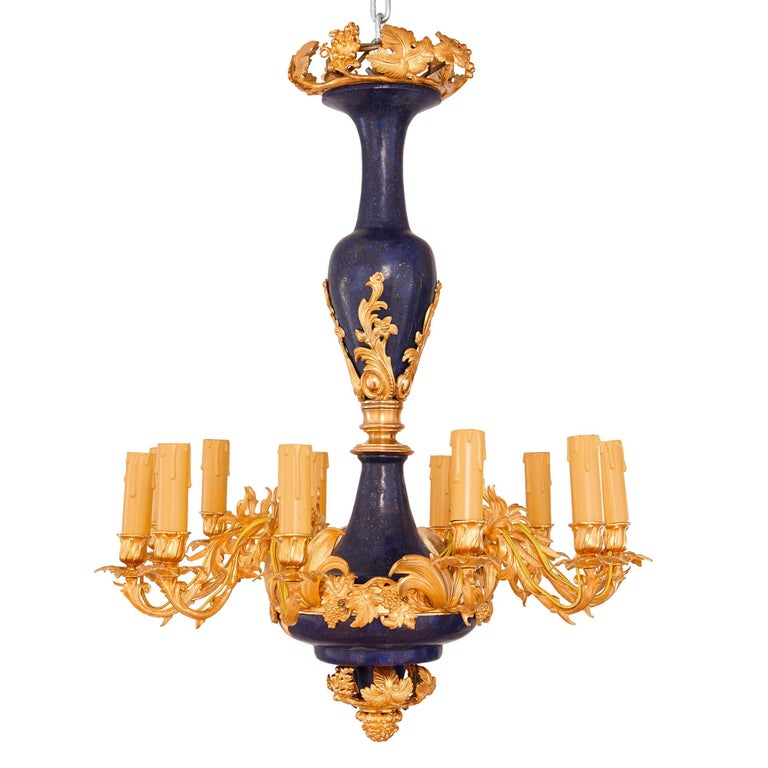 Gilt Metal and Lapis Lazuli Twelve-Light Chandelier