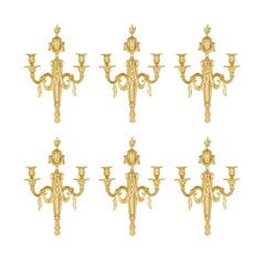 Six Antique French Louis XVI Style Gilt Bronze Wall Sconces