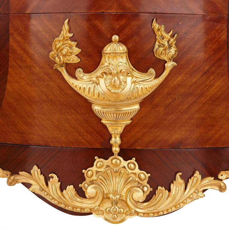 French Rococo Style Gilt Bronze and Walnut Commode For Sale 1