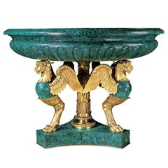 Very Large Gilt Bronze and Malachite Jardiniere in the Empire Style
