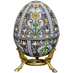 Large Russian Silver Gilt and Cloisonné Enamel Easter Egg