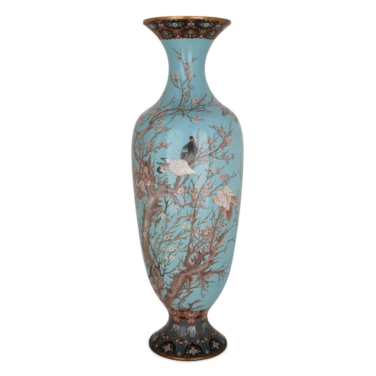 Very Large Japanese Vase Decorated With Cloisonne Enamel For Sale At