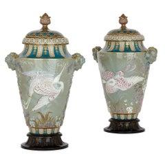 Important Pair of Sèvres Porcelain Pâte-Sur-Pâte Vases by Leopold Gely