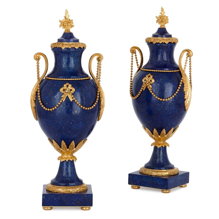 Two Neoclassical Style Gilt Bronze And Lapis Lazuli Vases For Sale