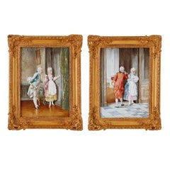 Two Antique Rococo Style Painted Ceramic Plaques