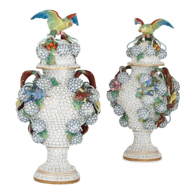 Pair of 19th Century German Porcelain Schneeballen Vases
