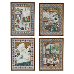 Set of Four Persian Paintings, Qajar Period