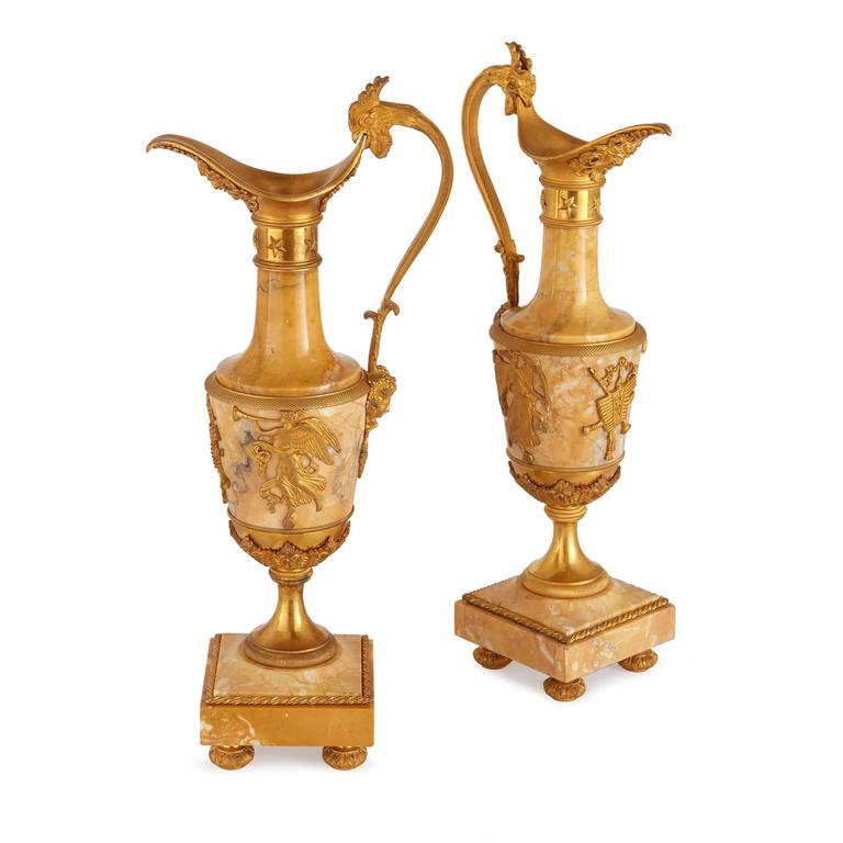 Pair Of Empire Style Ormolu Mounted Marble Vases For Sale At 1stdibs