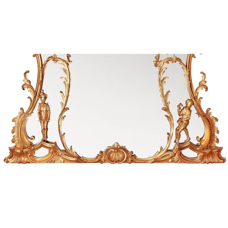 Large William IV period English gilt wood over-mantle mirror after Chippendale 6