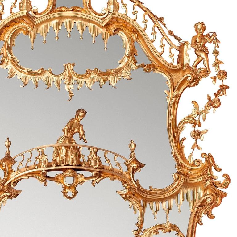 Large William IV period English gilt wood over-mantle mirror after Chippendale 3