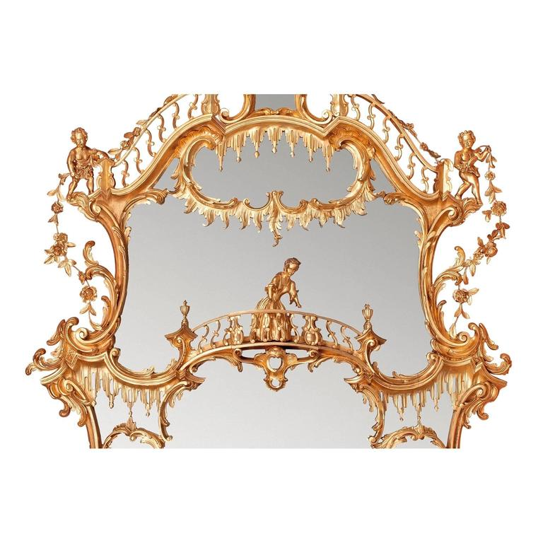 Large William IV period English gilt wood over-mantle mirror after Chippendale 2