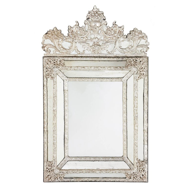 Large rectangular antique silvered French mirror in the Baroque style