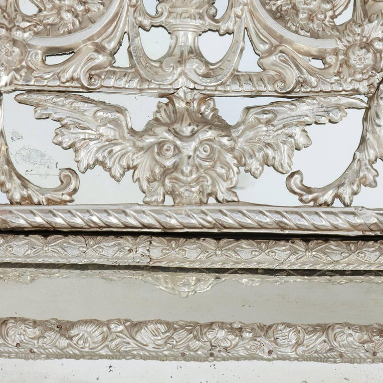 Large rectangular antique silvered french mirror in the for Rectangular baroque mirror