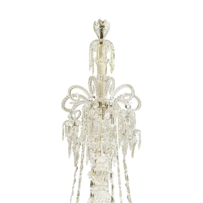 19th Century Very large cut-glass and parcel-gilt antique English chandelier by F. & C. Osler For Sale