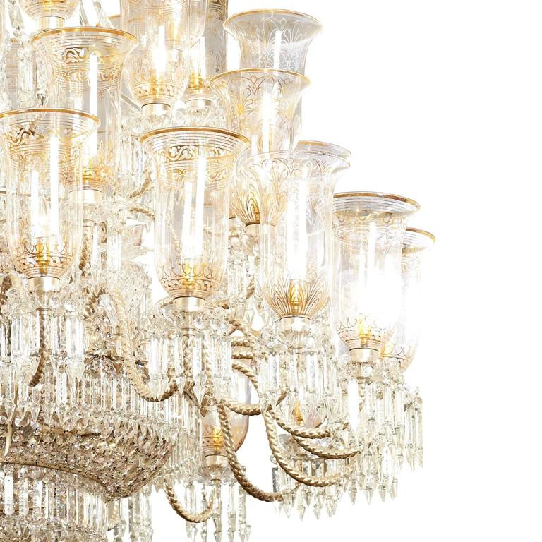 Etched Very large cut-glass and parcel-gilt antique English chandelier by F. & C. Osler For Sale