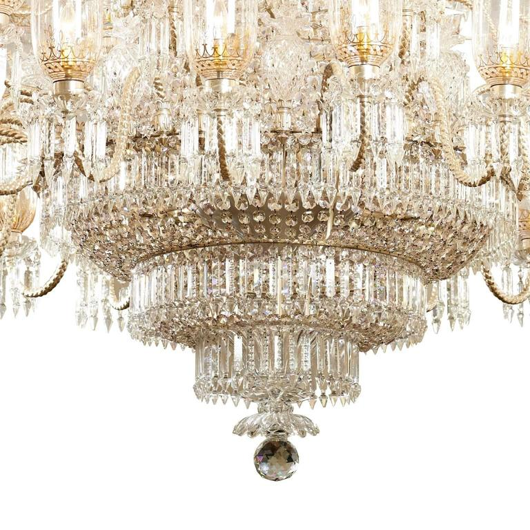 Very large cut-glass and parcel-gilt antique English chandelier by F. & C. Osler In Good Condition For Sale In London, GB