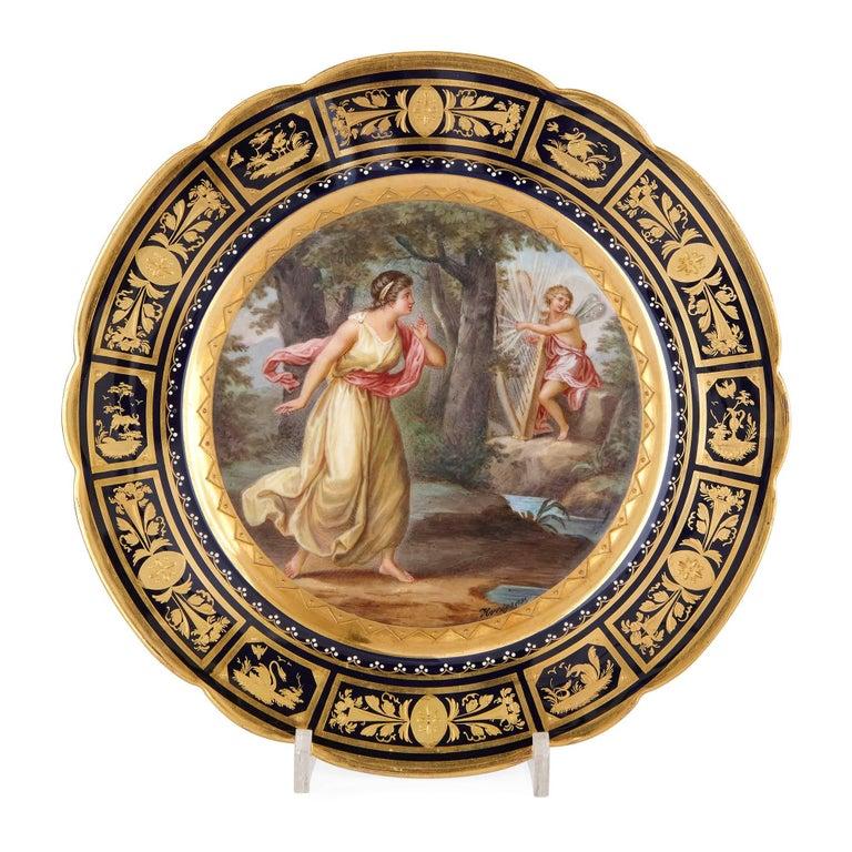 Painted Fine Royal Vienna Porcelain 18-Piece Dessert Service For Sale