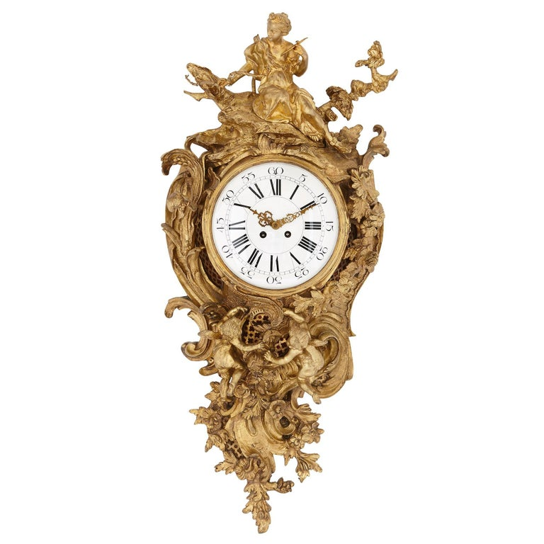 Large antique gilt bronze French cartel clock in the Louis XVI style  For Sale