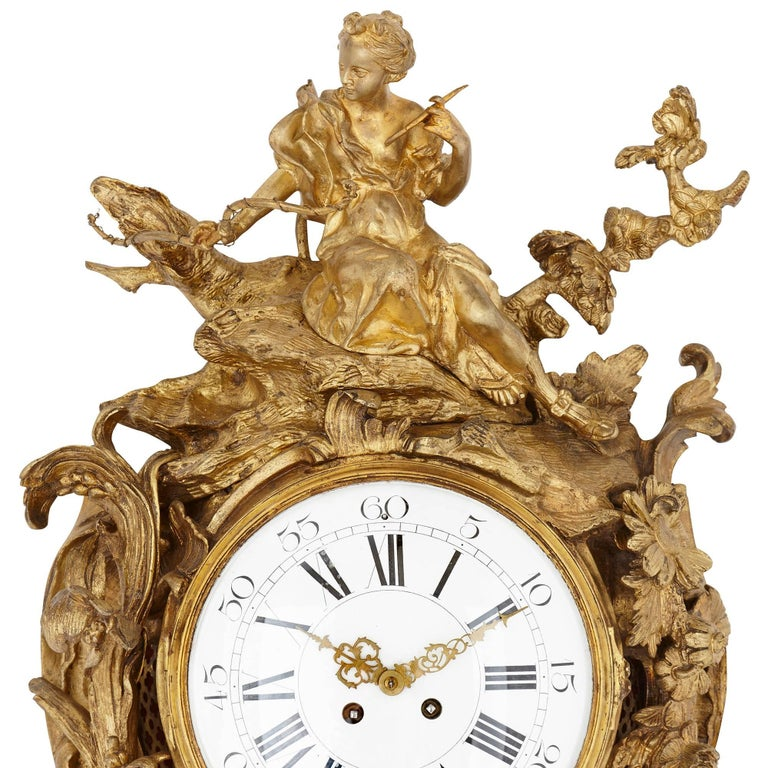 Neoclassical Large antique gilt bronze French cartel clock in the Louis XVI style  For Sale