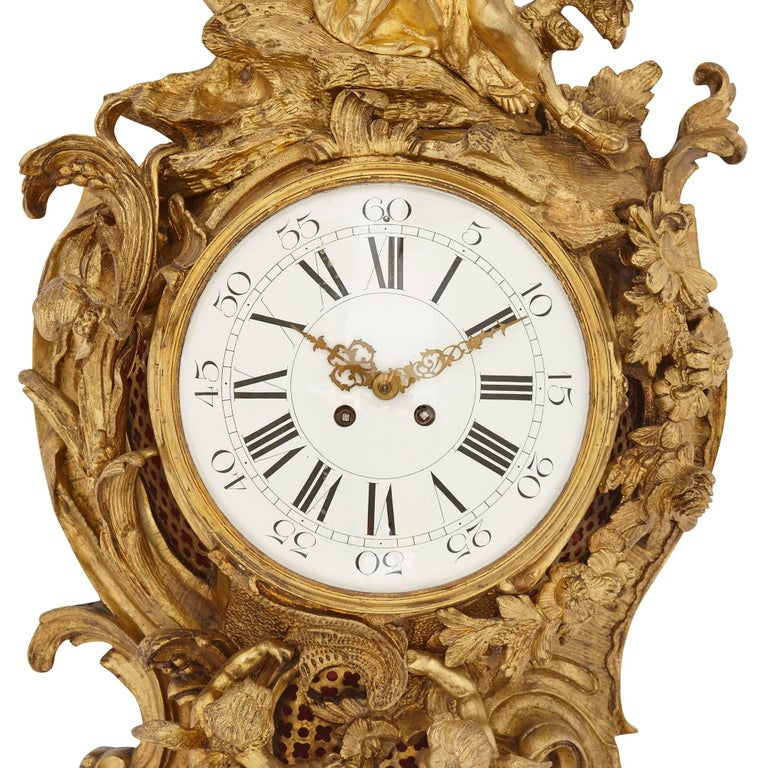 Gilt Large antique gilt bronze French cartel clock in the Louis XVI style  For Sale