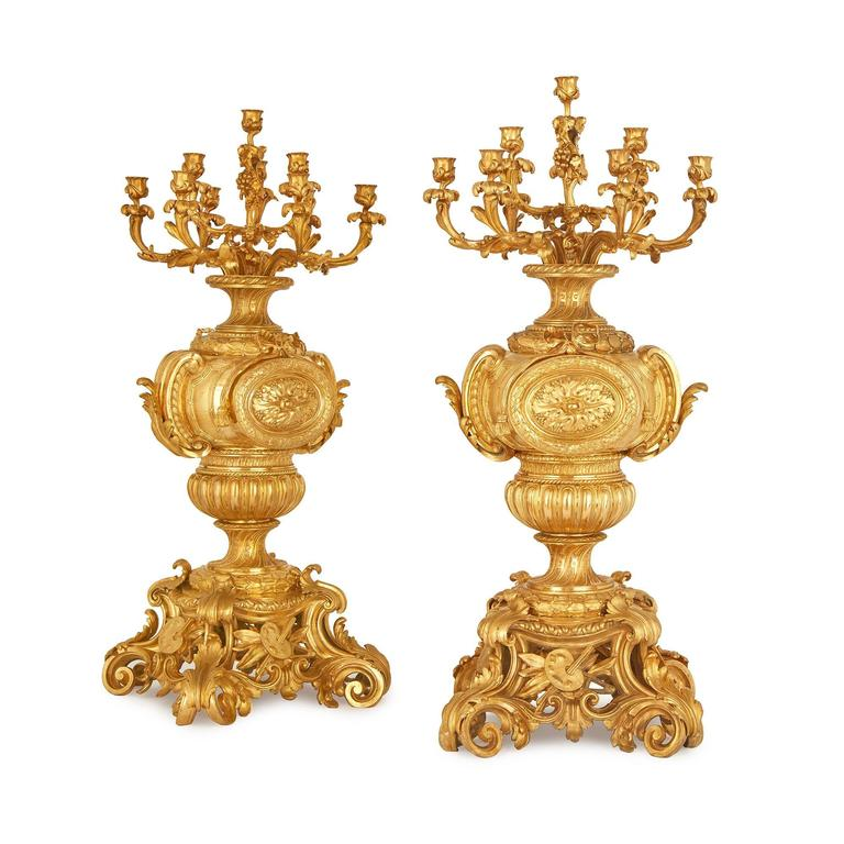 Large pair of rococo style french antique ormolu for Rococo decorative style