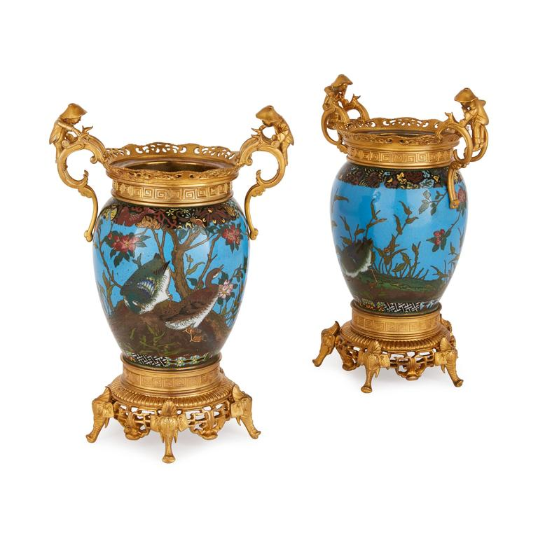 pair of ormolu mounted cloisonn enamel vases for sale at 1stdibs. Black Bedroom Furniture Sets. Home Design Ideas