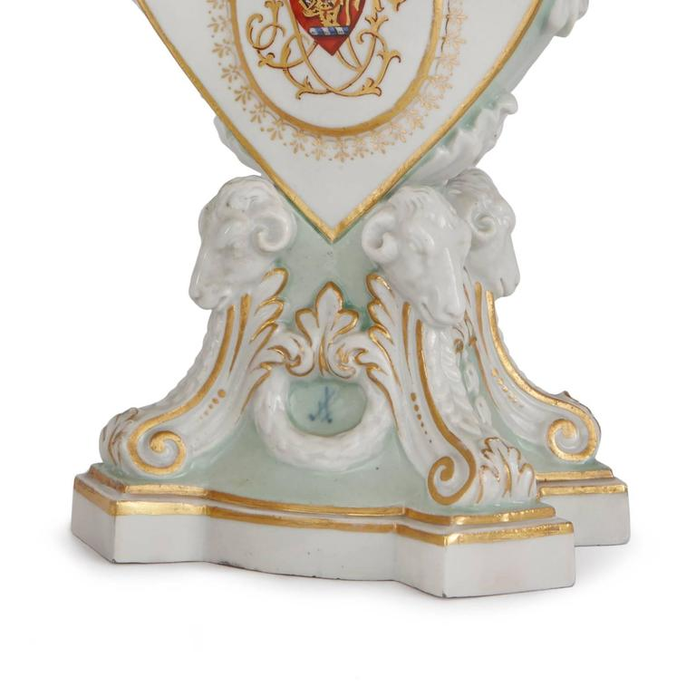 Romantic Pair of Heart Shaped Meissen Porcelain Candleholders For Sale