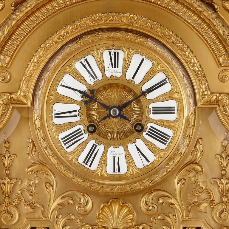 Belle Époque Large French Antique Ormolu Mantel Clock by Ferdinand Barbedienne