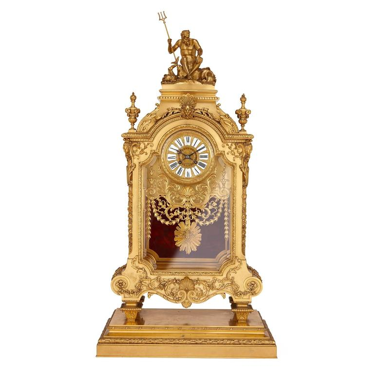 Antique Mantel Clocks >> Large French Antique Ormolu Mantel Clock By Ferdinand Barbedienne At