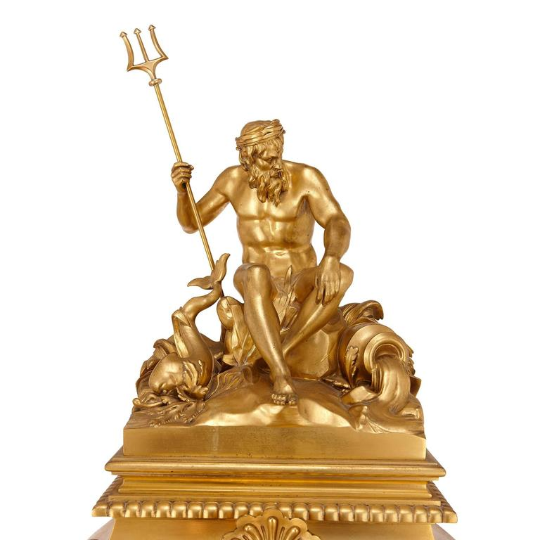 Large French Antique Ormolu Mantel Clock by Ferdinand Barbedienne In Excellent Condition In London, GB